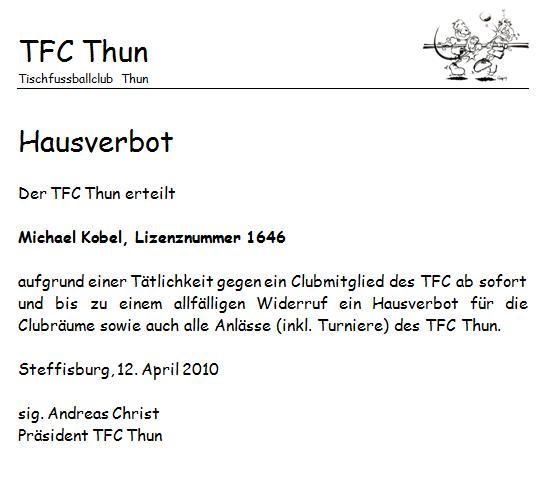 Hausverbot Kobel Tfc Thun