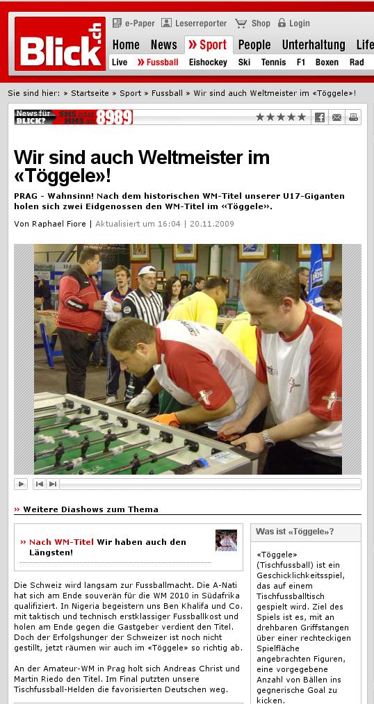 Andi christ und Martin Riedo, Amateur Tischfussball Weltmeister 2009
